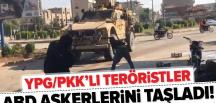 YPG/PKK'lı teröristler ABD askerlerini taşladı! .