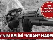 PKK'nın belini 'kıran' dev harekat! 103 terörist etkisiz hale getirildi .