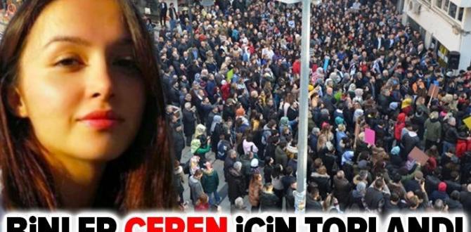 Ordu'da binlerce kişi canice öldürülen Ceren Özdemir için toplandı