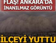 Son dakika: Ankara'da inanılmaz görüntü! Kum fırtınası bir ilçeyi kapladı…